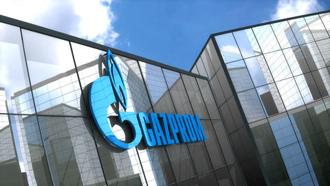 Editorial, Gazprom logo on glass building Animation