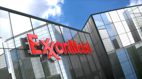 Editorial, ExxonMobil logo on glass building Animation