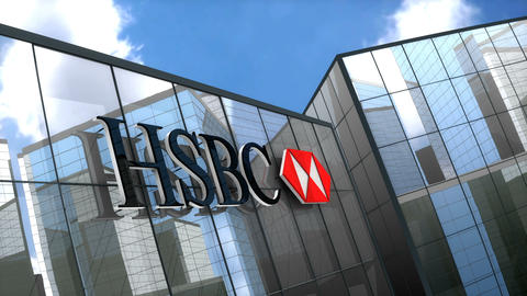 Editorial, HSBC Bank logo on glass building Animation