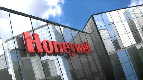 Editorial Honeywell logo on glass building Animation