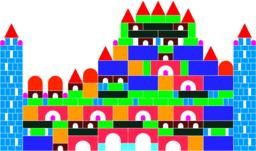 The castle of colored cubes ベクター
