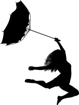 Woman jumps in the wind Vector