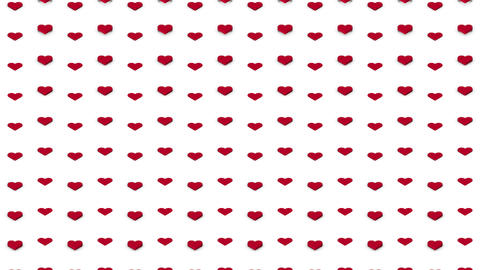 Romantic isometric background red hearts vertical waves… Stock Video Footage
