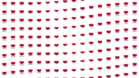 Romantic isometric background red hearts waves motion Animation