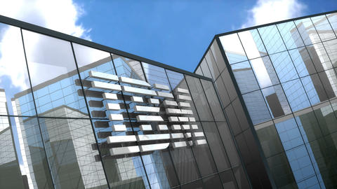 Editorial IBM logo on glass building Animation