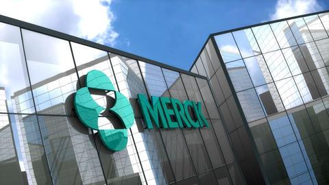 Editorial MERCK & Co logo on glass building Animation