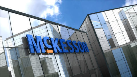 Editorial, McKesson corporation logo on glass building Animation