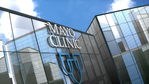 Editorial, Mayo Clinic logo on glass building Animation