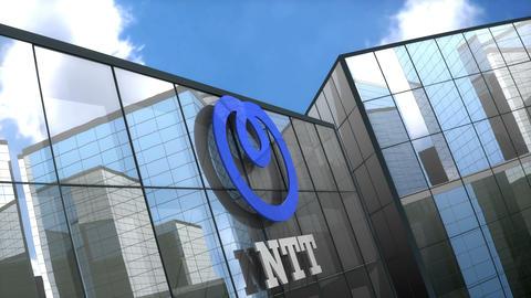 Editorial NTT logo on glass building Animation