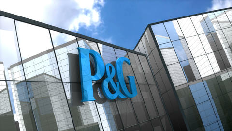 Editorial P&G logo on glass building Animation