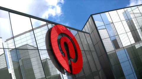 Editorial, Pinterest logo on glass building Animation