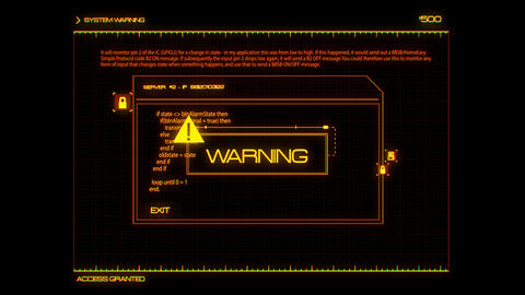 Orange HUD Server Warning Interface Graphic Element Animation