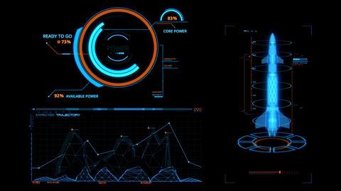 Blue HUD Rocket Missile Interface Graphic Element Animation