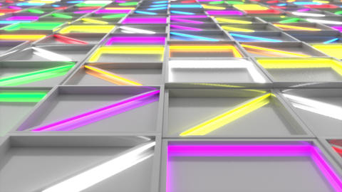 Wall of white rectangle tiles with colorful glowing elements Animation