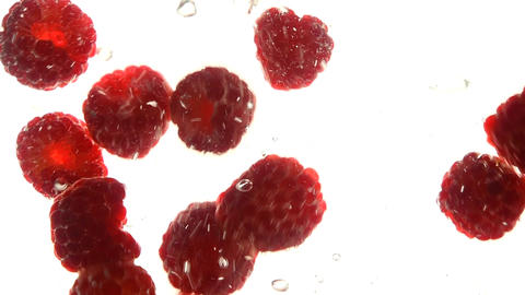Close up red raspberries thrown floating in water Live Action