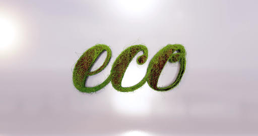 "The word ""eco"" in the wood look and surrounded by plants Animation"