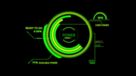 Green HUD Power Control Interface Graphic Element Animation