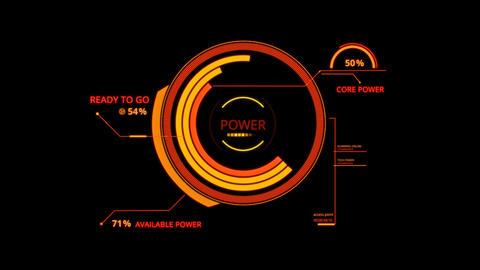 Orange HUD Power Control Interface Graphic Element Animation
