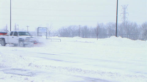 Truck Plowing Snow Stock Video Footage