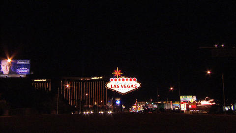 Las Vegas Sign Wide 1 Stock Video Footage