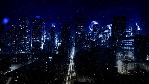 HD Snowy City at Night PJPEG Stock Video Footage