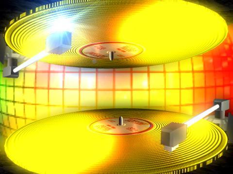 Disco 2x Yellow records Stock Video Footage