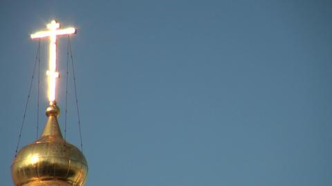 Golden cross on temple Stock Video Footage