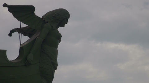 Sculpture part on a rostral column in Sankt Petersburg Stock Video Footage