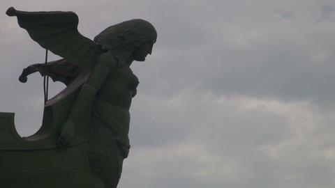 Sculpture part on a rostral column in Sankt Petersburg Stock Video Footage