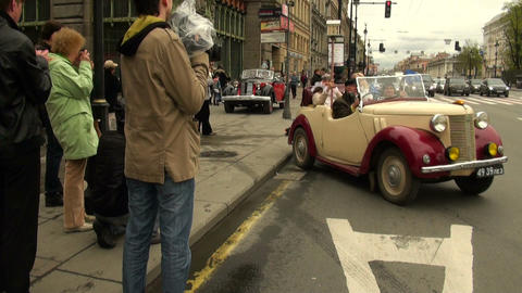 Artist in an old car Stock Video Footage