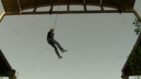 Jumping from a height, jumps with a cord Stock Video Footage