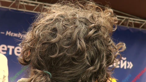 curly black hair the back of the head Stock Video Footage