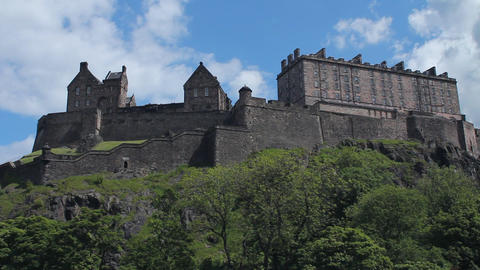 Side view of the Castle of Edinburgh Stock Video Footage