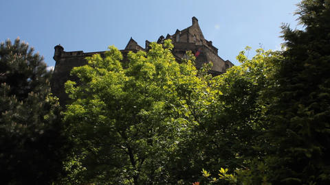 View of the Castle of Edinburgh and some flowers Stock Video Footage