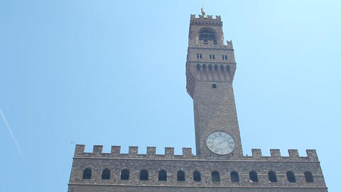 Palazzo Vecchio, the town hall of Florence Stock Video Footage