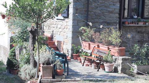 Pan of little Italian street in Cortona Stock Video Footage