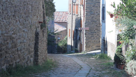 Pan of little Italian street in Cortona Footage