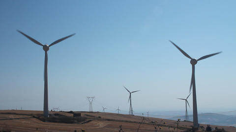 Field of wind turbines Stock Video Footage