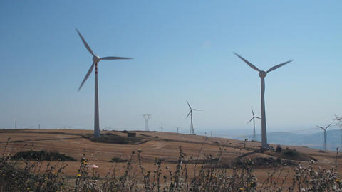 Panoramic of a field of wind turbines Stock Video Footage