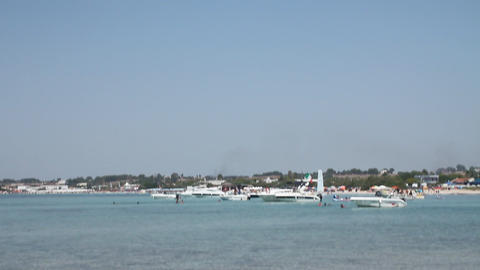 Boats in the sea in southern Italy Stock Video Footage