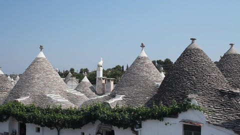 View of Alberobello and the trulli, a traditional  Footage