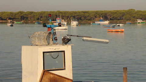 Docked fishing boat Stock Video Footage