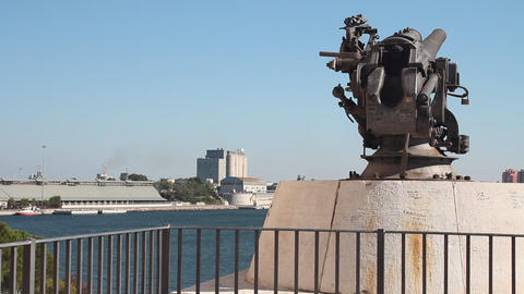 Cannon facing the port of Brindisi Stock Video Footage