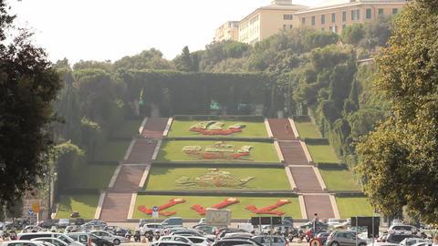 Flower garden of Three Caravels in Genoa Footage