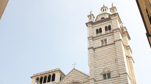Cathedral of San Lorenzo, in Genoa Stock Video Footage