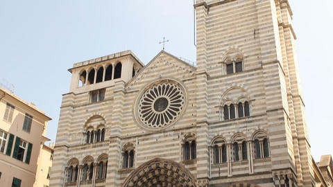 Cathedral of San Lorenzo, in Genoa Footage