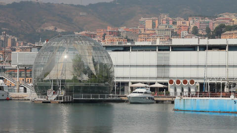 The sphere of Renzo Piano at the port of Genoa Footage