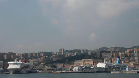 View of the port of Genova, with ferries Stock Video Footage