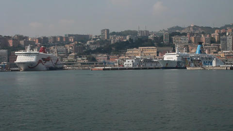 View of the port of Genova, with ferries Footage