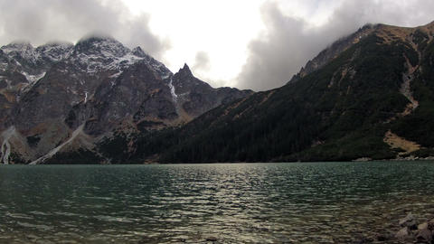 View at the two mountains and lake Stock Video Footage
